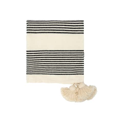 Cotton & Chenille Woven Throw with Stripes & Tassels