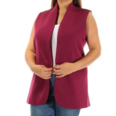 ANNE KLEIN Womens Purple Sleeveless Open Cardigan Wear To Work Top Size: 6