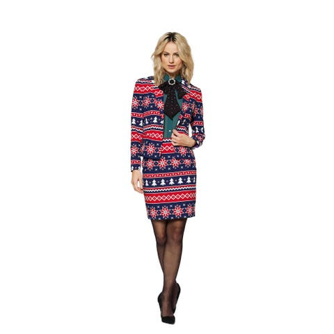 Blue and Red Nordic Noelle Women Adult Christmas Suit - Small