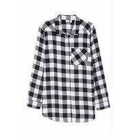 Make + Model NORDSTROM Black Women's Size XXS Plaid Sleepshirt