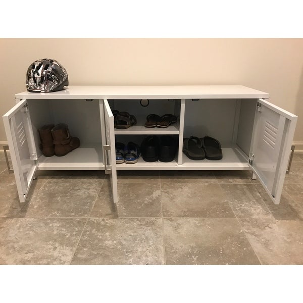 48 Inch White Metal Locker Style Storage Bench   Free Shipping Today    Overstock   20994461