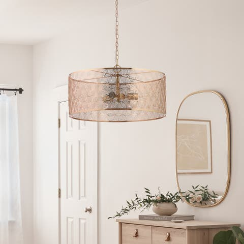 """Haileigh River of Goods Gold Metal Drum-Shade Hanging Chandelier - 23.625"""" x 23.625"""" x 16/63"""""""