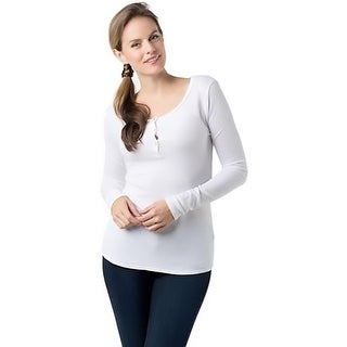 LAmade Womens Henley Top Thermal Fitted