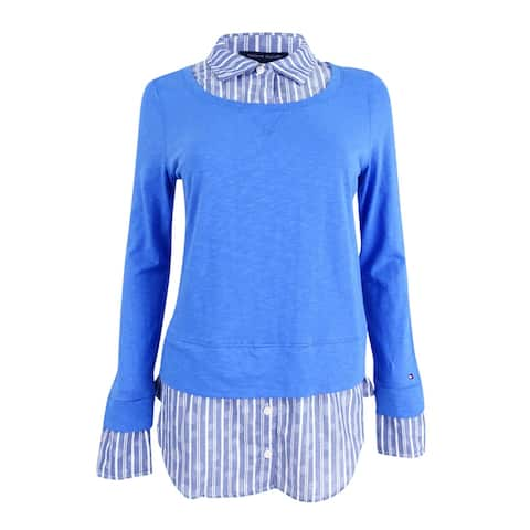 Tommy Hilfiger Women's Cotton Layered-Look Collared Sweater - Pacific Blue