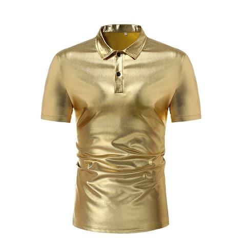 Mens Short Sleeve T Shirt Hipster Metallic Gold Silver Crew Neck Short Sleeve T Shirt