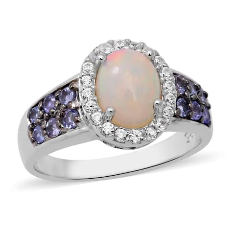 Platinum Over Sterling Silver Opal Tanzanite Halo Ring Size 10 Ct 2.2 - Ring 10