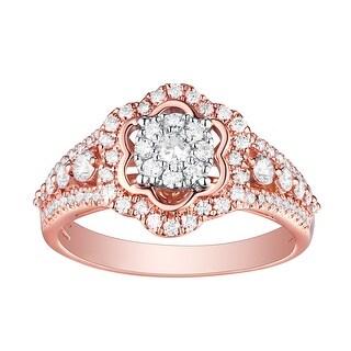 Brand New 0.75 Carat Round Brilliant Cut Natural G-H/SI1 Diamond Engagement Ring - White G-H