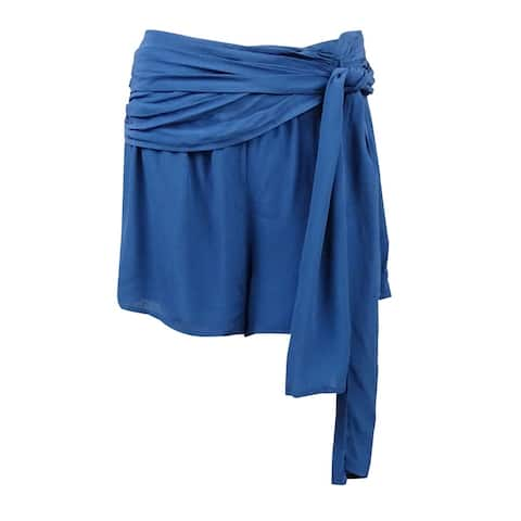 Free People Women's Casual Crepe Wrap Shorts - Sapphire