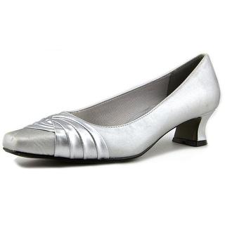 Easy Street Tidal Women N/S Round Toe Canvas Silver Heels