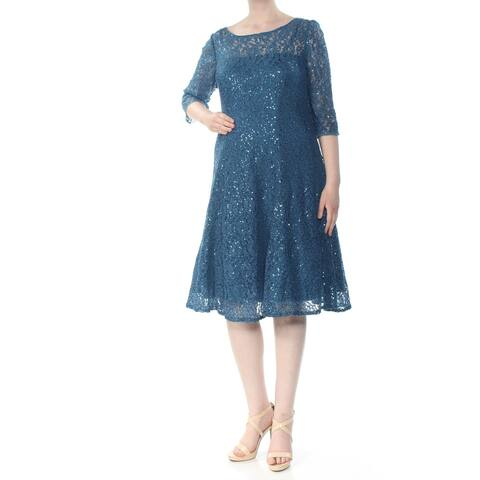 SLNY Womens Turquoise 3/4 Sleeve Midi A-Line Party Dress Size 16W