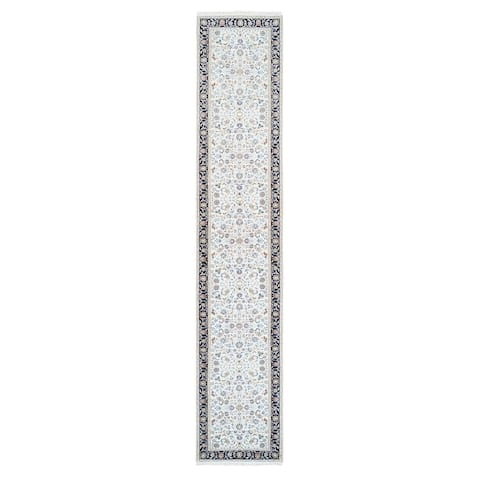 """Shahbanu Rugs Nain Ivory with a Navy Blue Border Wool and Silk 250 KPSI All Over Design Hand Knotted Runner Rug (2'8"""" x 14'1"""")"""