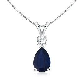 Pear Blue Sapphire Teardrop Pendant Necklace with Diamond