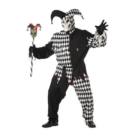 California Costumes Plus Size Evil Jester Costume - Black/White - X-Large