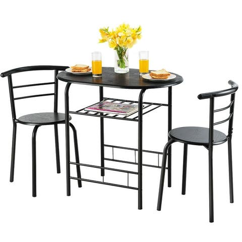 Costway 3 Pcs Dining Set 2 Chairs And Table Compact Bistro Pub