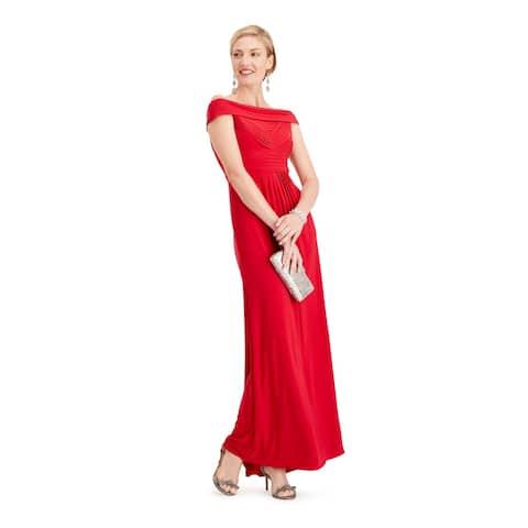 ADRIANNA PAPELL Red Short Sleeve Full-Length Dress 12