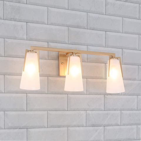 3-light Modern Gold Bathroom Vanity Lights Frosted Glass Wall Sconces