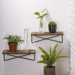 Link to Glitzhome Farmhouse Rustic Metal Wooden Wall Shelf Set of two Similar Items in Accent Pieces