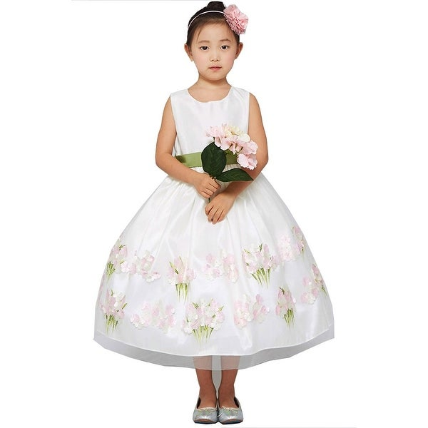 aa3456885950 Shop Good Girl Girls White 3D Floral Print Sleeveless Flower Girl ...