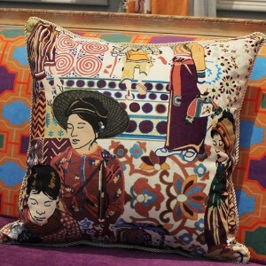 """Luxury Asian Ethnic Costume Colorful Beige Pillow 18""""X18"""" (3 options available)"""
