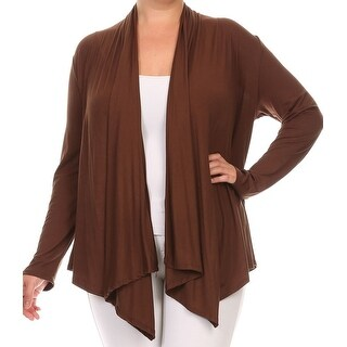 Women Plus Size Long Sleeve Cardigan Casual Cover Up Brown