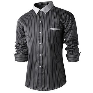 Men Stripes Single Breasted Long Sleeves Point Collar Shirts - Black