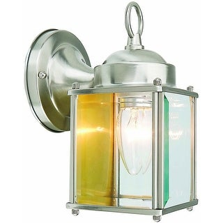Design House 507863 Coach 1 Light Outdoor Downlight Wall Lantern, Satin Nickel