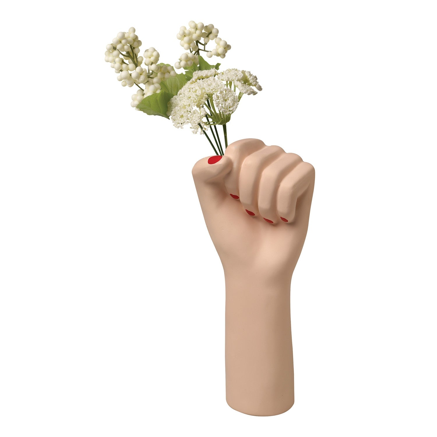 Doiy Girl Power Raised Female Fist Ceramic Vase Decorative Flower Holder Beige Overstock 28860306