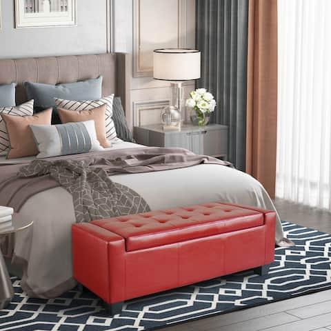 Porch & Den Pickard Red Faux Leather Storage Ottoman Bench