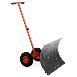 Costway Adjustable Wheeled Snow Pusher/Shovel Heavy Duty Efficient Snow Removal Tool