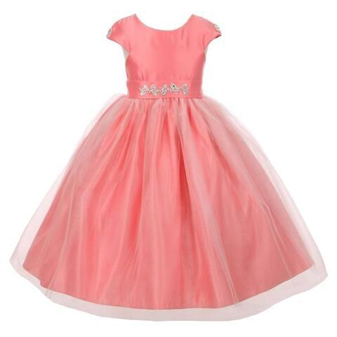6f5b6c148 Little Girls Coral Shiny Tulle Dull Satin Rhinestone Flower Girl Dress 2-6