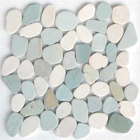 "SA CP005 12"" x 12"" Interlock Pebble Tile Green & White Natural"