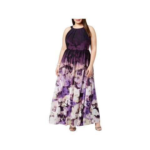 Betsy & Adam Womens Plus Evening Dress Chiffon Floral Print