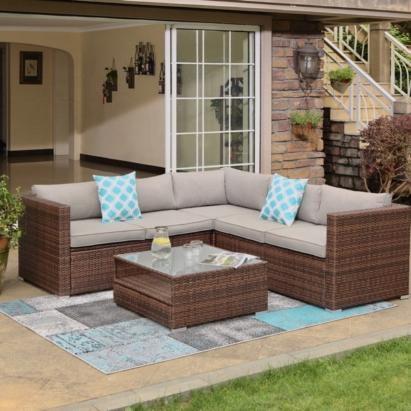 COSIEST 4-piece Outdoor Wicker Patio Sofa Set with Cushions. Opens flyout.