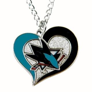 NHL San Jose Sharks Swirl Heart Necklace
