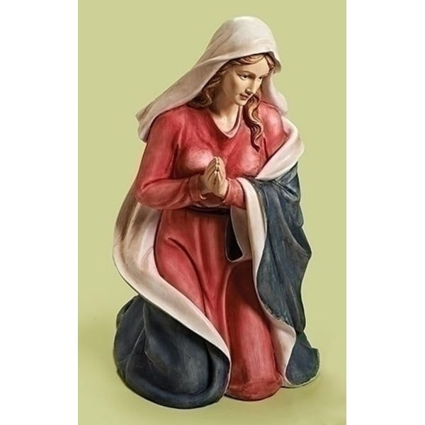 """40"""" Red and Beige Religious Christmas Kneeling Mary Nativity Figure - brown"""