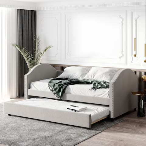 Full Upholstered Daybed with Twin Trundle&Wood Slat& 2 Rivets Armrests