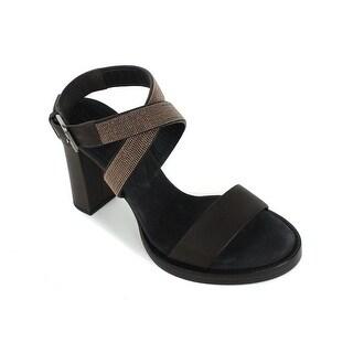 Brunello Cucinelli Brown Leather Monili Ankle Strap Pumps