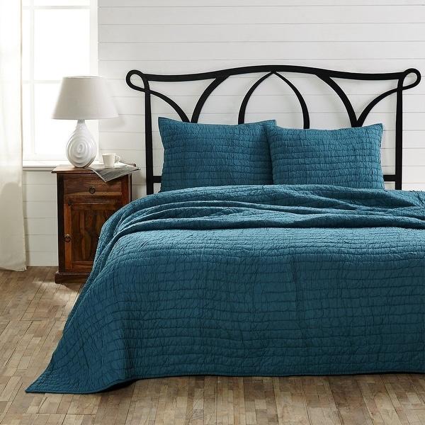 Bella Taylor Rochelle Aegean Blue 3 Piece King Quilt Set with 2 Shams