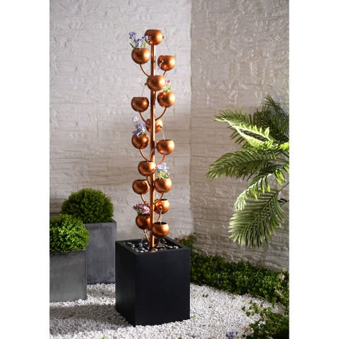 "Ragin Copper and Black Fountain with Planters - 13"" x 13"" x 62"""