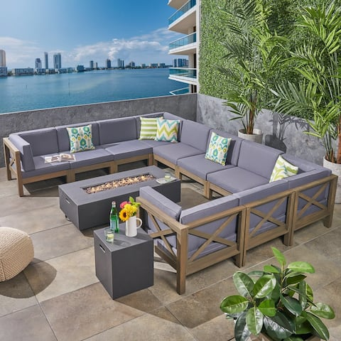 Brava Outdoor 12-pc. Acacia Sectional Sofa Set w/ Fire Pit by Christopher Knight Home