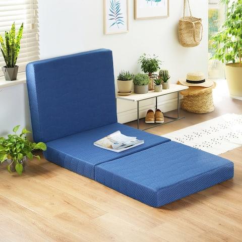 Sleeplanner 4-inch Tri-Fold Memory Foam Topper, Blue