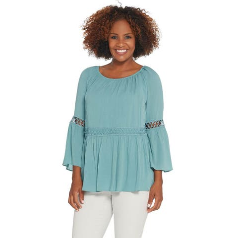 Du Jour Womens Crinkle Gauze Bell Sleeve Top with Lace Inset XXS Aqua A308951