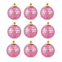 "9ct Bubblegum Pink Mirrored Glass Disco Ball Christmas Ornaments 2.5"" (60mm)"