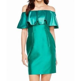 Adrianna Papell Green Womens Size 12 Satin Popover Sheath Dress