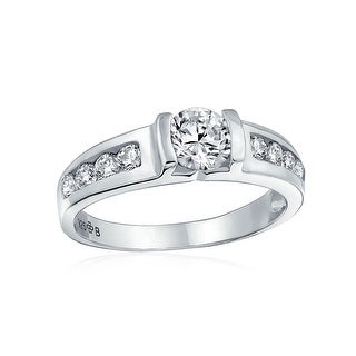 Deco Style 1.5CT Brilliant Round Solitaire U Set Channel Set Band AAA CZ Engagement Ring For Women 925 Sterling Silver