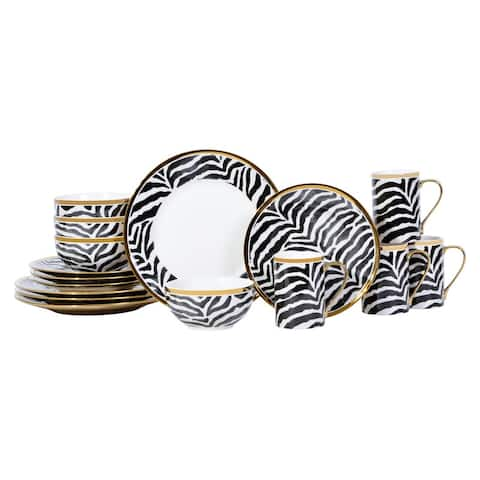 Serengeti Zebra with Electropated Gold 16 Piece Dinnerware Set