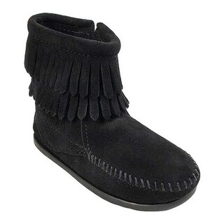 Minnetonka Children's Side Zip Double Fringe Black Suede