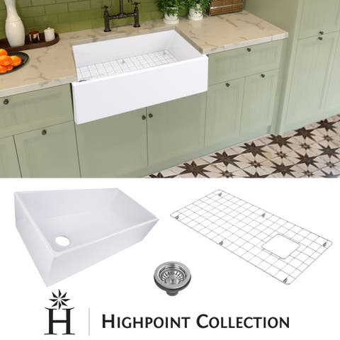 "Highpoint Collection 36-inch Fireclay Farmsink with Grid and Drain - 36"" x 19"" x 10"""
