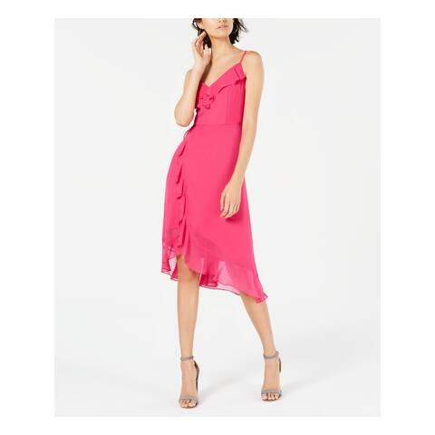 KENSIE Womens Pink Spaghetti Strap V Neck Midi Sheath Dress Size 16