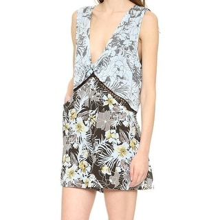 Free People NEW Blue Gray Women's Size Medium M Floral Print V-Neck Romper
